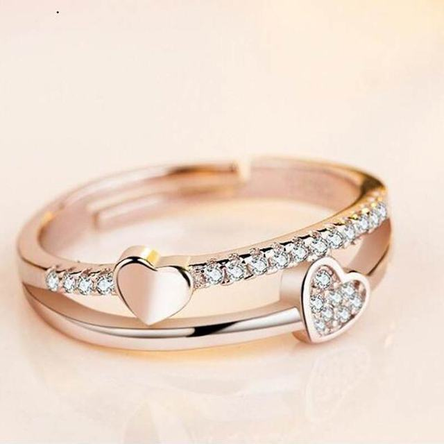 Vintage Double Hearts Shaped Women's Crystal Ring