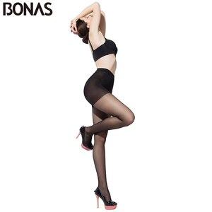 Image 2 - BONAS Designer Seamless Collants Dété Femmes Slim Sexy Noir Mince Nylon Collants Pour Les Filles Plus La Taille Femelle En Gros