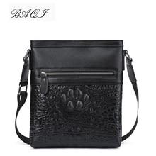 BAQI Brand Men Handbags Genuine Leather Cowhide Crocodile Pattern Men Shoulder Bags Men Messenger Bag 2019 Fashion Business Bag недорого