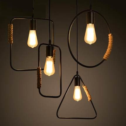 Loft Style Creative Rope Pendant Light Fixtures Edison Industrial Vintage Lighting Dining Room Hanging Lamp Retro Droplight loft style rope water pipe lamp edison pendant light fixtures vintage industrial lighting for dining room retro iron droplight