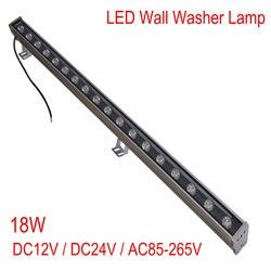 Nowy 1 M 18 W LED spryskiwaczy ściany światło krajobrazu AC 85 V-265 V/DC12V/DC24V światła zewnętrzne ścienne liniowy lampa reflektor 100 cm wallwasher