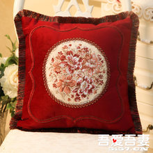 European-style classical pillow case of silk fabric embroidered bed fashion European pillowcase pillow cover(China)