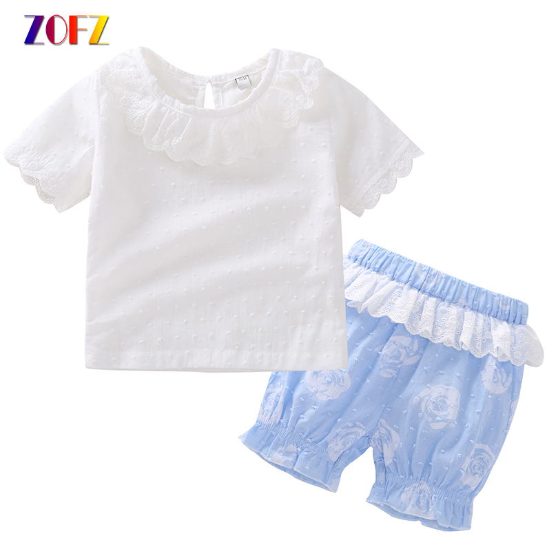 ZOFZ 2018 Girls Clothes White Cotton Lace Short Sleeve T-Shirt and Blue Rose Shorts Baby Set Toddler Girls Summer Clothing Set 2pcs children outfit clothes kids baby girl off shoulder cotton ruffled sleeve tops striped t shirt blue denim jeans sunsuit set