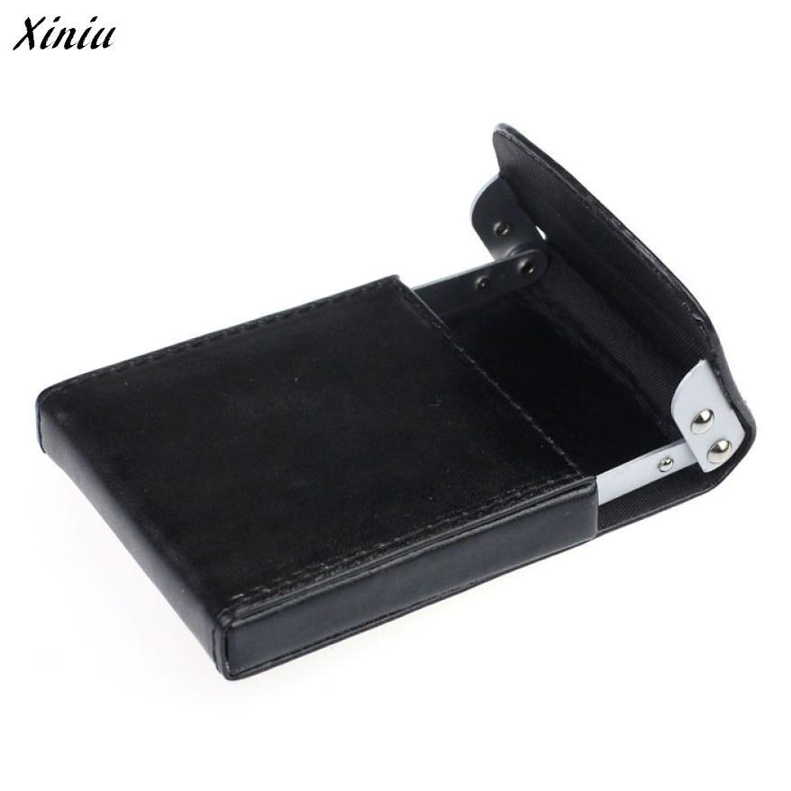 Xiniu Metal Case Organizer PU Leather Business Card Name ID Credit Card Mini Box Pocket Wallet Case Holder #0 mini code case style name card holder box silver