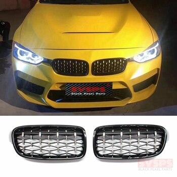 SVSPS כוונון חלק זוג קדמי יהלומי גריל עבור BMW 3 סדרת F30 F35 2011-2019 מטאור סגנון קדמי פגוש גריל רכב סטיילינג