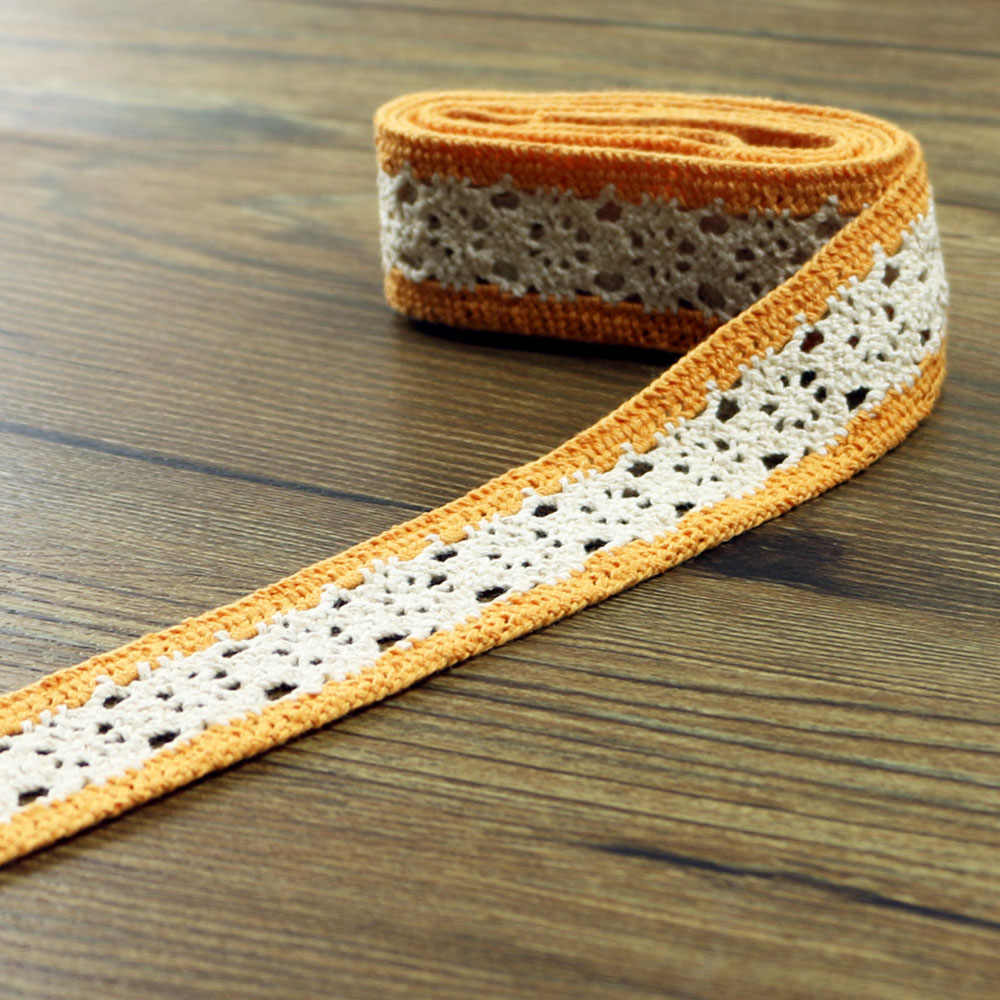 color Hot Sale  Cotton Lace Roll Ribbon Knit Adhesive Tape Sticker Craft Decoration Fabric