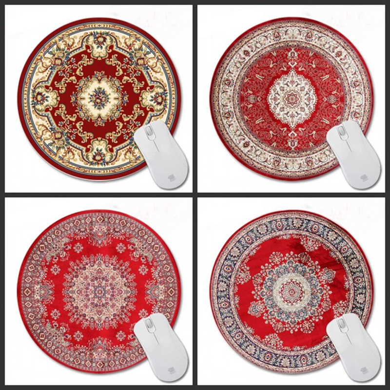Congsipad 200*200*2mm Print Red Persian rug Customized Non-Slip Rubber 3D Printing Gaming Durable Notebook Round mouse pad beautiful design non slip rubber gaming oblong mouse pad
