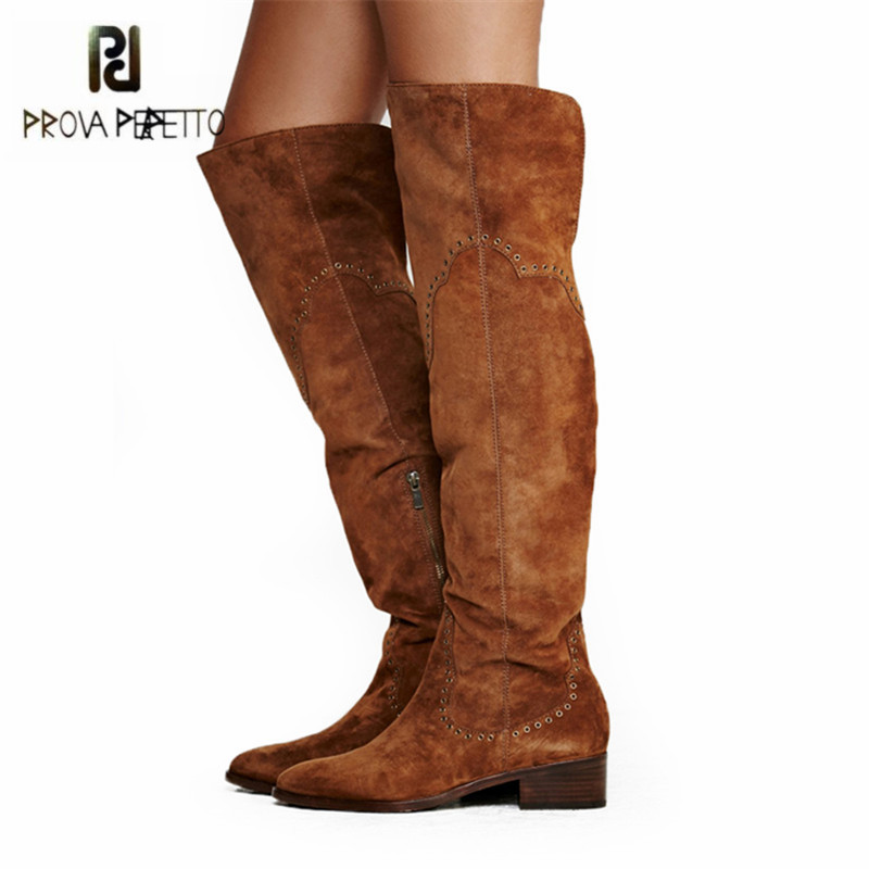 Prova Perfetto New Design Brown Suede Women Thigh High Boots Rivets Studded Over the Knee Boots Flat Martin Boot High Botas prova perfetto brown women genuine leather high heel boot platform mid calf high boots buckle straps martin botas shoes woman