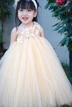 2016 Новая Девушка Цветок Платье Девушки День Рождения Платье Свадебное Платье Благородный Принцесса ПАЧКИ Цветок Перо Юбки