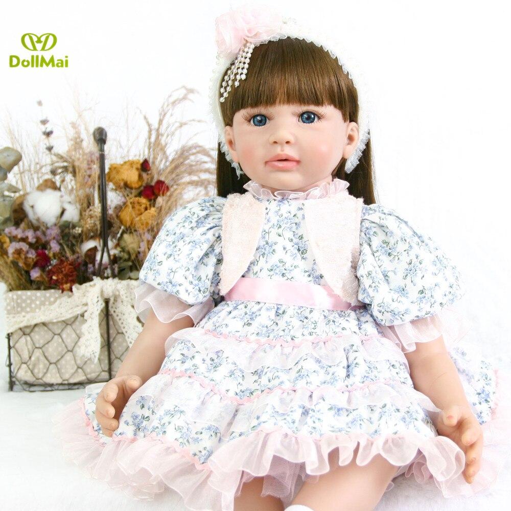 Poupée NPK 60CM réaliste reborn enfant en bas âge bébé silicone fille poupée avec de longs cheveux bouclés poupée lol bebes reborn bonecas cadeau princesse