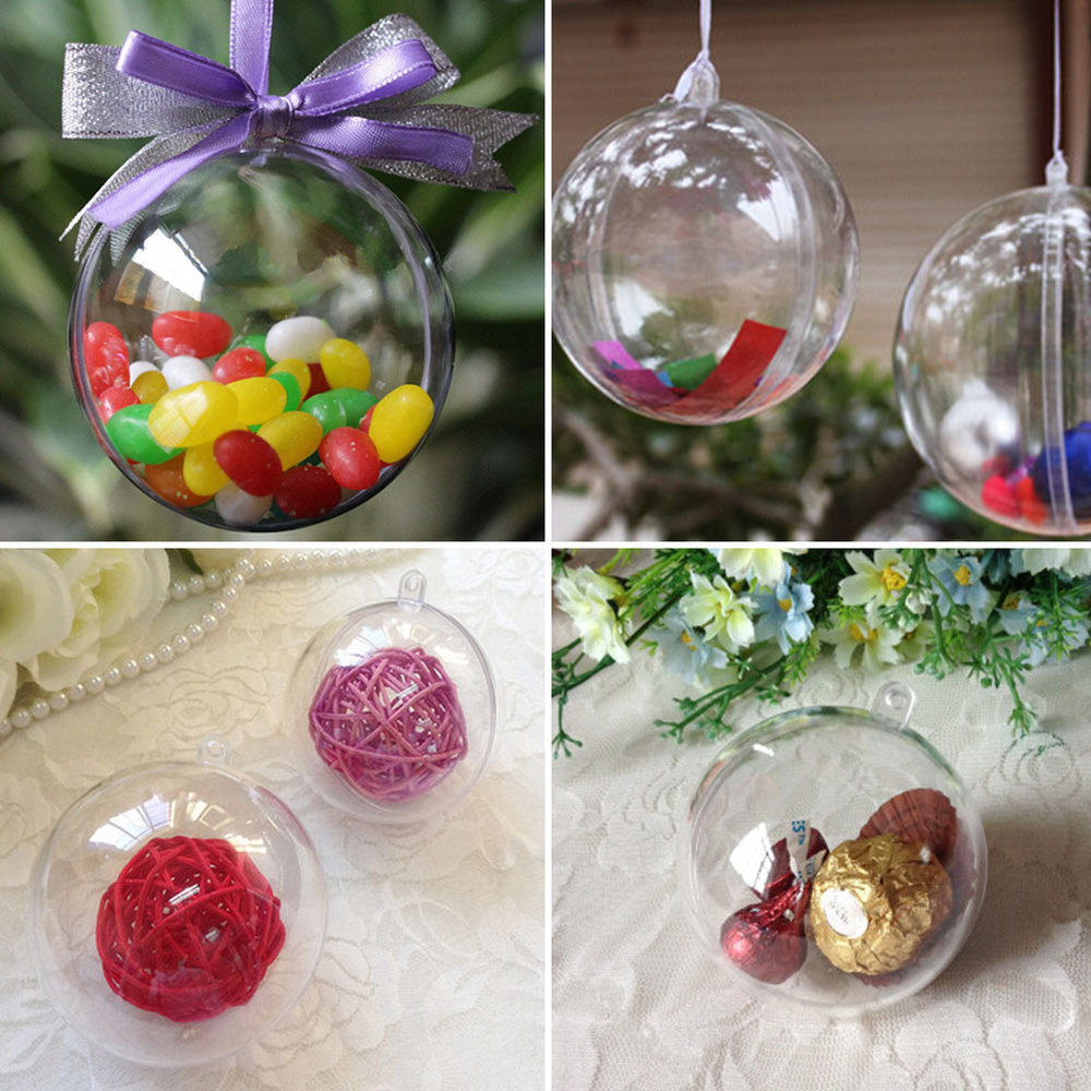 Outdoor hanging ornaments - 10cm Plastic Clear Christmas Decorations Hanging Ball Bauble Candy Ornament Xmas Tree Outdoor Decor Clear Christmas