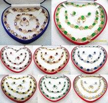 11.22 8 color-red/blue/purple/green jade/zirconia/opal necklace bracelet earrings ring can choose Discount 35%