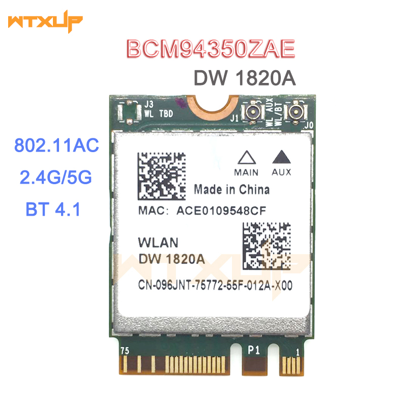 DW1820A BCM94350ZAE BCM94356ZE 802.11ac BT4.1 867Mbps wifi Adapter BCM94350 M.2 NGFF WiFi Wireless Card better than BCM94352Z(China)