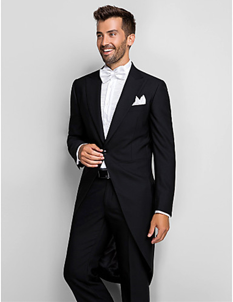 wedding tuxedo for groom wear long tail black suits wool bleed 2019