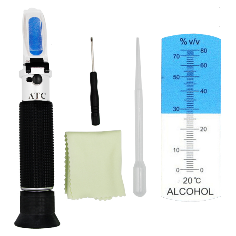 Portable Hand Held 0-80% alcoholometer Alcohol refractometer liquor alcohol Content Tester with ATC 39%off кастрюля linkfair 304