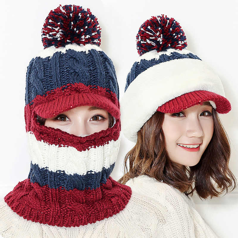 936c5648c94 ... Winter Women Knitted Hat Scarf One Piece Set Fashion Girl Wool  Thickening Hats Collars Female Warm ...