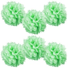 Pack of 6 Mint 6″(15cm) Tissue Paper Pom Poms Decorative Flower Wedding Decor Birthday Party Baby Shower Bridal Shower Tea Party