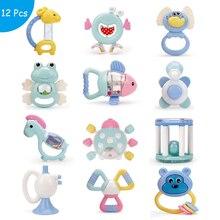 Baby Spielzeug Kunststoff Hand Jingle Schütteln Glocke Schöne Hand Schütteln Glocke Ring 12PCS Baby Rasseln Spielzeug Neugeborenen Macarons Beißring spielzeug