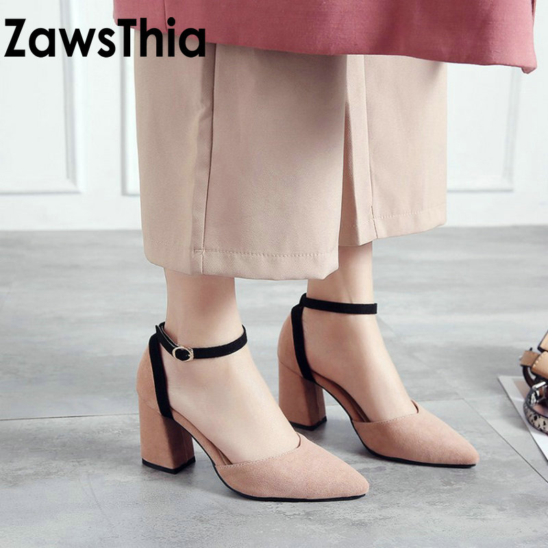ZawsThia 2019 Chaussures Femme Ankle Wrap High Heels Women Fashion Green Pink Sandals Summer Ladies Shoes Pumps Sandalias Mujer