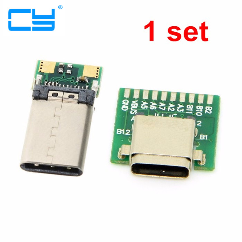 DIY 24pin USB-C USB 3.1 Type C Male & Female Plug & Socket Connector SMT type with PC Board ,Free shipping By China Post diy 24pin usb c usb 3 1 type c male