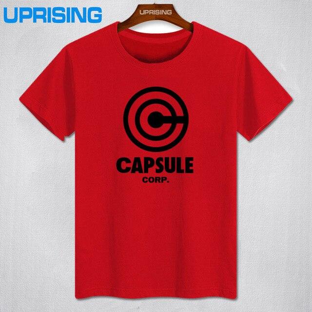 Summer Dragon Ball Z T Shirt Men Short Sleeve Cotton Capsule Corp T Shirt Cartoon Men Clothing Shirts Tops Free Ship