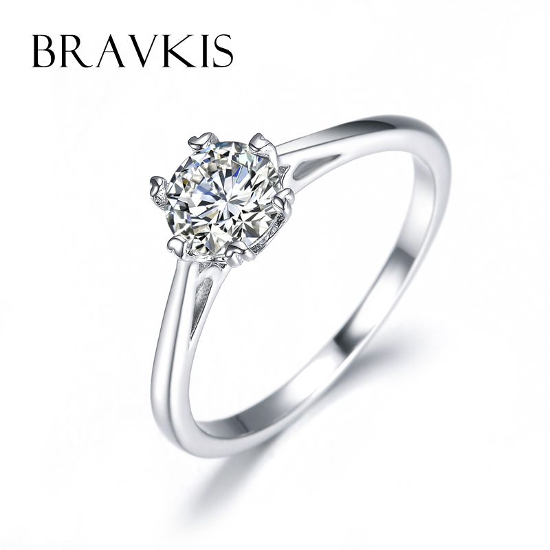 Bravekiss Simple Aaa Zircon Solitaire Rings Wedding Band Engagement For Women Cathedral Anillos Mujer Jewelry Bur0121 In From