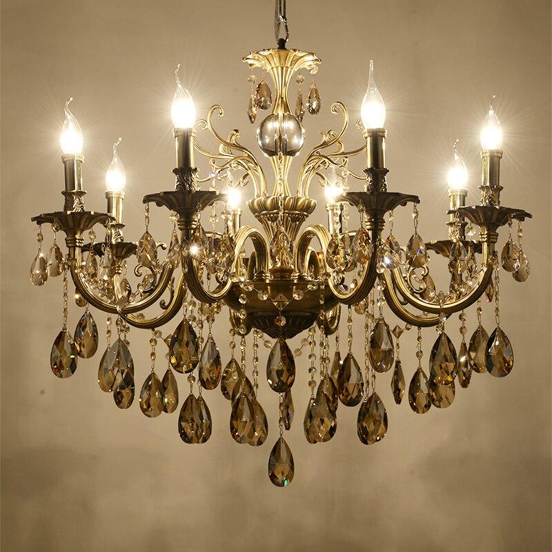 Modern Luxury Grande Ouro Lustres de Cristal Iluminação Da Lâmpada para Sala de estar Do Quarto e Estudo AC 110 V ~ 240 V
