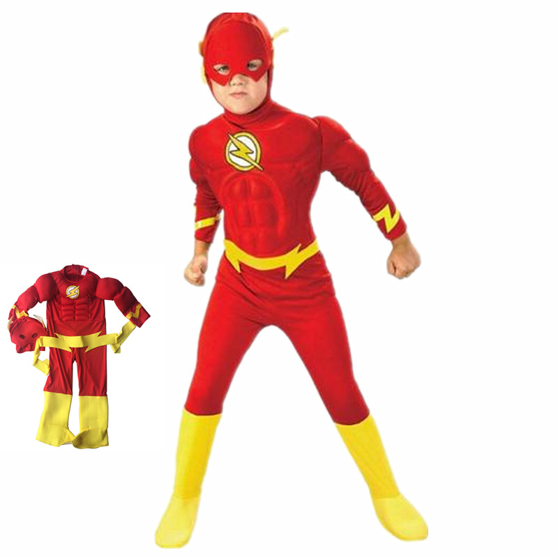 Cosplay Le Flash Muscle Superhero Costume, Halloween Party Kids Carnival Muscle Costume