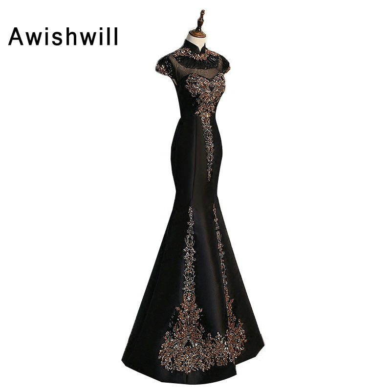 Black Long Prom Dresses 2019 High Neck Sequin Appliques Satin Mermaid Evening Dress with Short Sleeve Formal Gowns for Women