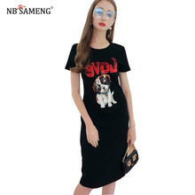 2018 Spring Sequins Cartoon Dog Letter Printed T-Shirt Dress Women Short  Sleeve O- Neck Long Tee Dresses Female Casual Clothes 99dec27ee256