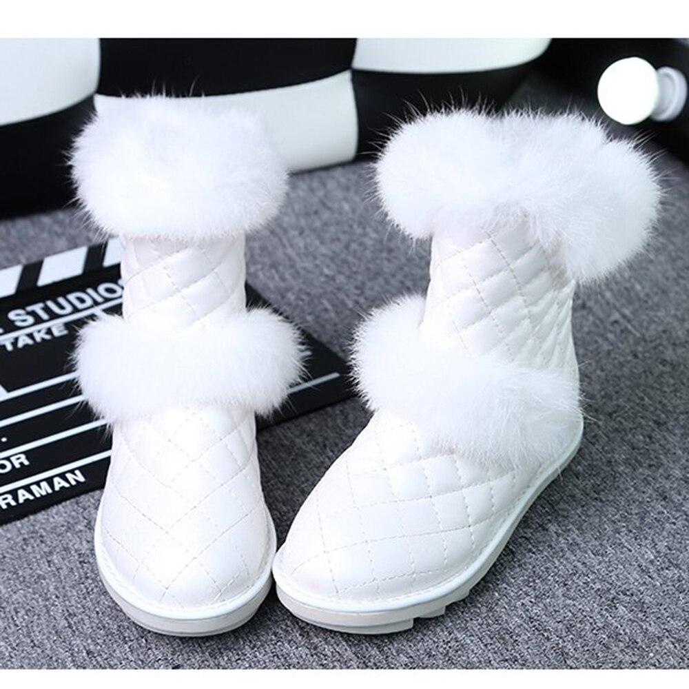 Moda Cuero Fuzzy Blanco Felpa Negro Zapatos Mujer 2018 Nieve Botas Mujeres white Faux Invierno Black De Calientes Caliente Cnq8wFZx