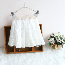 wholesale(5pcs/lot)- 2016 white lace flower skirt for child girl