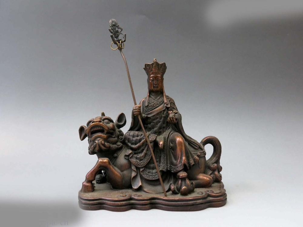 DS China Bronze Sculpture Carved Copper Buddhism Foo Dogs Lion Ksitigarbha Statue