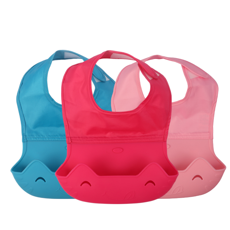 27 22 CM Baby Bib Children Eat Pocket Waterproof Silicone Soft Burp Cloths With Hook Loop