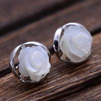 Real 925 Sterling Silver Natural Shell White Rose Earrings Studs Set For Women Vintage Flower Pearls