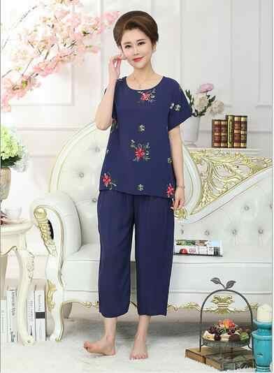 666be05ae2 ... Fdfklak Large Size Casual Pajamas Women Summer Pajama Women s Sleepwear  Pijama Short Sleeve Two Piece Set ...