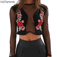 M H Artemis Sexy Mesh Floral Embroidery Transparent Crop Top Womem Long Sleeve Blouse Chic Streetwear