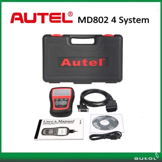 Цена за Бесплатные DHL Корабль! Autel MaxiDiag Elite MD802 на 4 Системы С Поток Данных Модель Двигателя, Трансмиссии, ABS и Подушка Безопасности Сканер Штрих-Кода