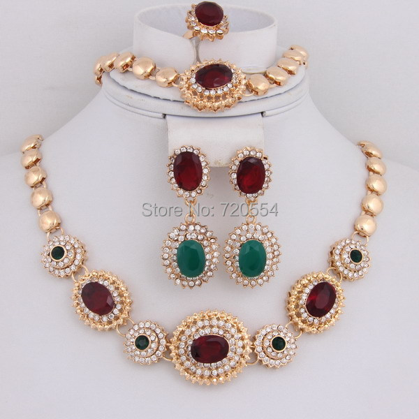Hot Ing Clear Crystal Design Beautiful Gold Plated Wedding Jewelry Sets Dubai Bridal Rhinestone Necklace