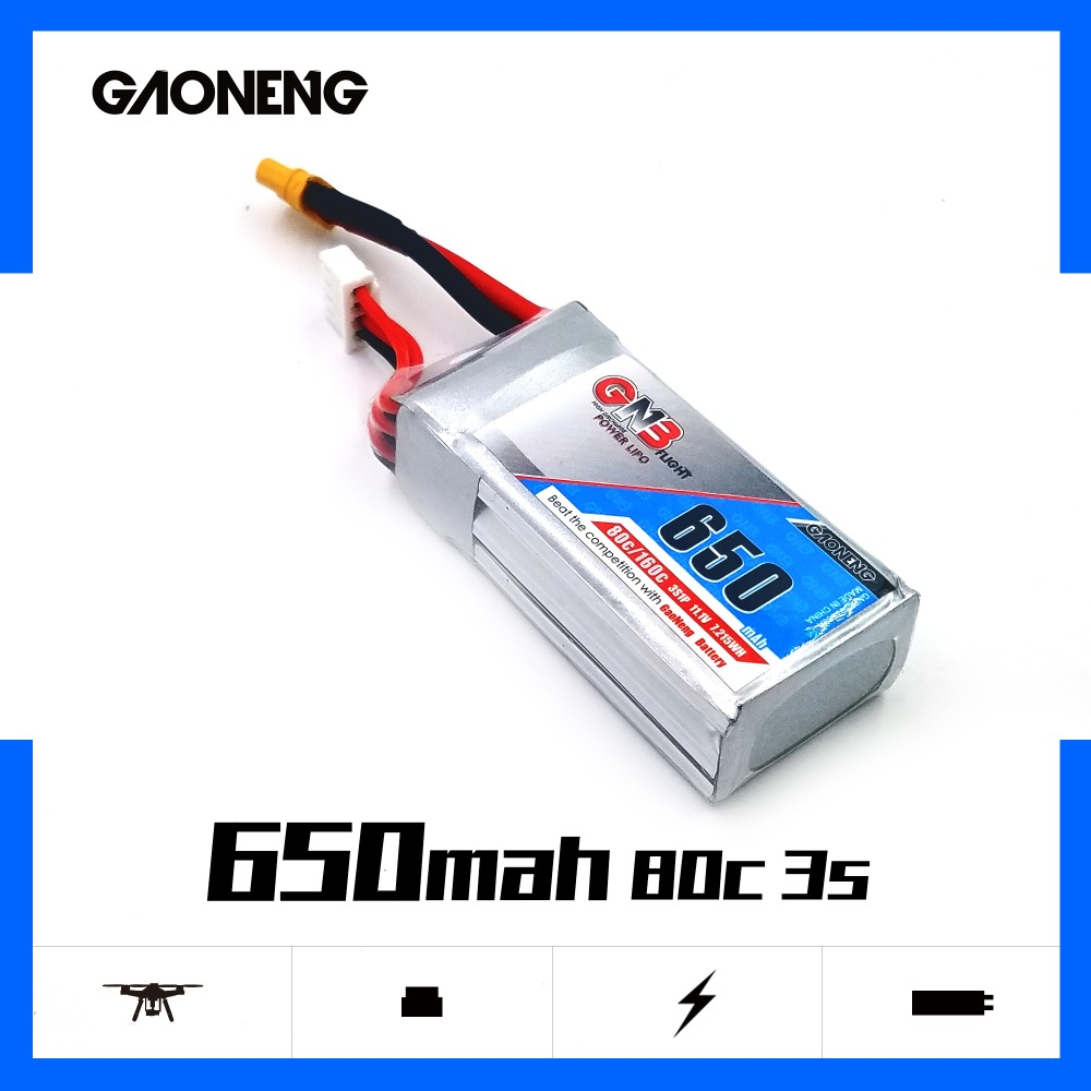 2PCS Gaoneng <font><b>650mAh</b></font> 11.1V 80C/160C <font><b>3S</b></font> <font><b>Lipo</b></font> battery with JST or XT30 Plug for FPV Racing Drone UAV RC Quadcopter RC Drone parts image