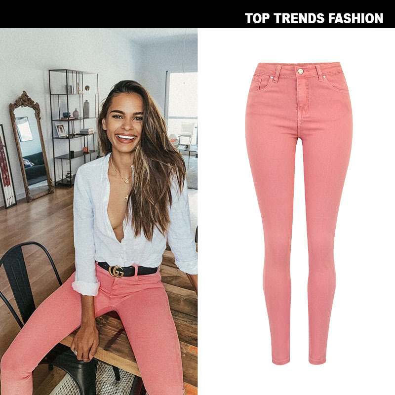 New women s wear high waist elastic Assout special dyed macaron lotus root powder popular new color Pocket   Jeans   Street set