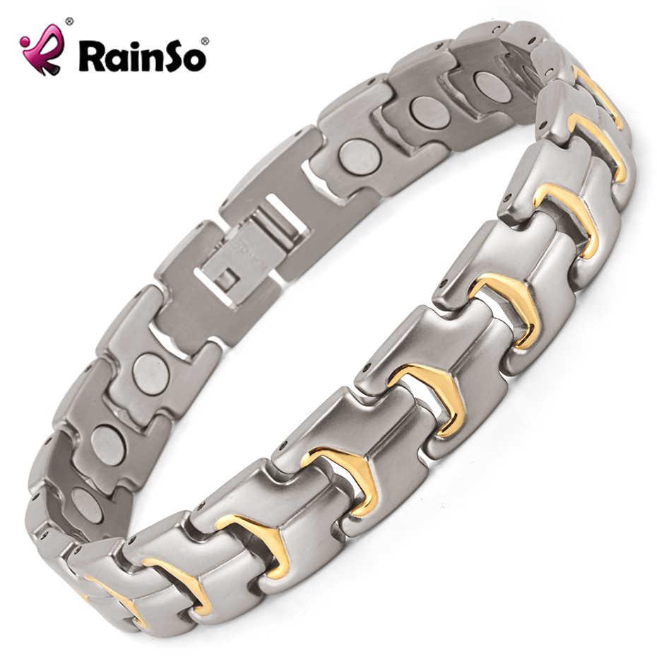 Pulsera para hombre Rainso, cadena de mano, Energía para la salud, pulsera magnética, abalorio, brazalete masculino de titanio para hombres, joyería, regalos para padres 2020