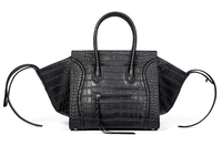 Camelia Women's Top Handle Tote Wings Bag made of Genuine Cow Leather with Crocodile Pattern