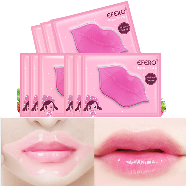 5Pcs Lip Plumper Crystal Collagen Lip Mask Pads Moisture Essence Anti Ageing Wrinkle Patch Pad Gel Scrub Lips Care Enhancer 4