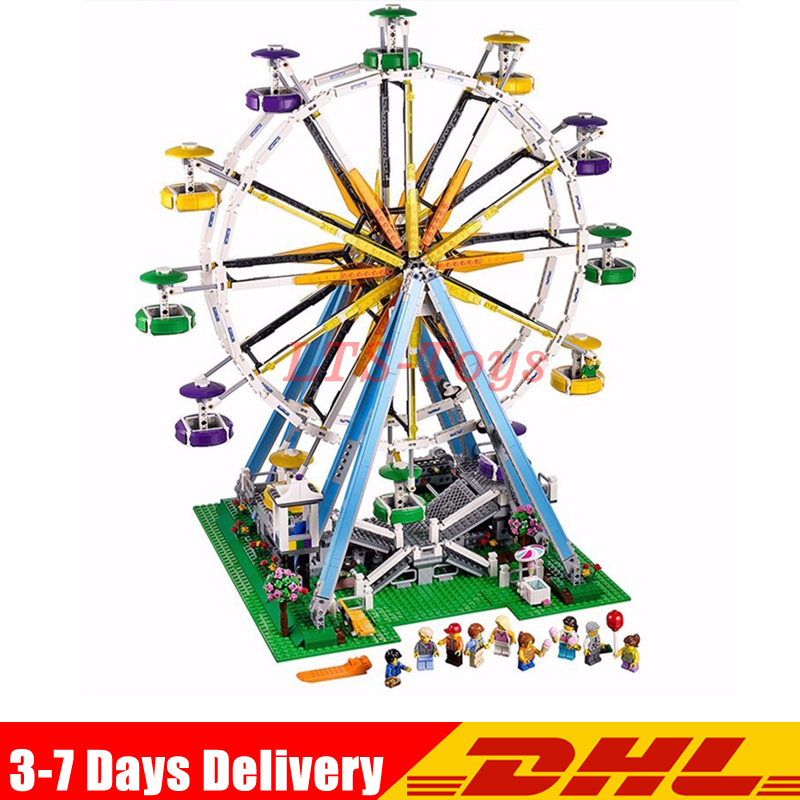 IN Stock DHL Lepin 15012 City Street Ferris Wheel Model Building Kits Set Assembling Blocks Toy Compatible 10247 Birthday Toys in stock new lepin 17004 city street series london bridge model building kits assembling brick toys compatible 10214