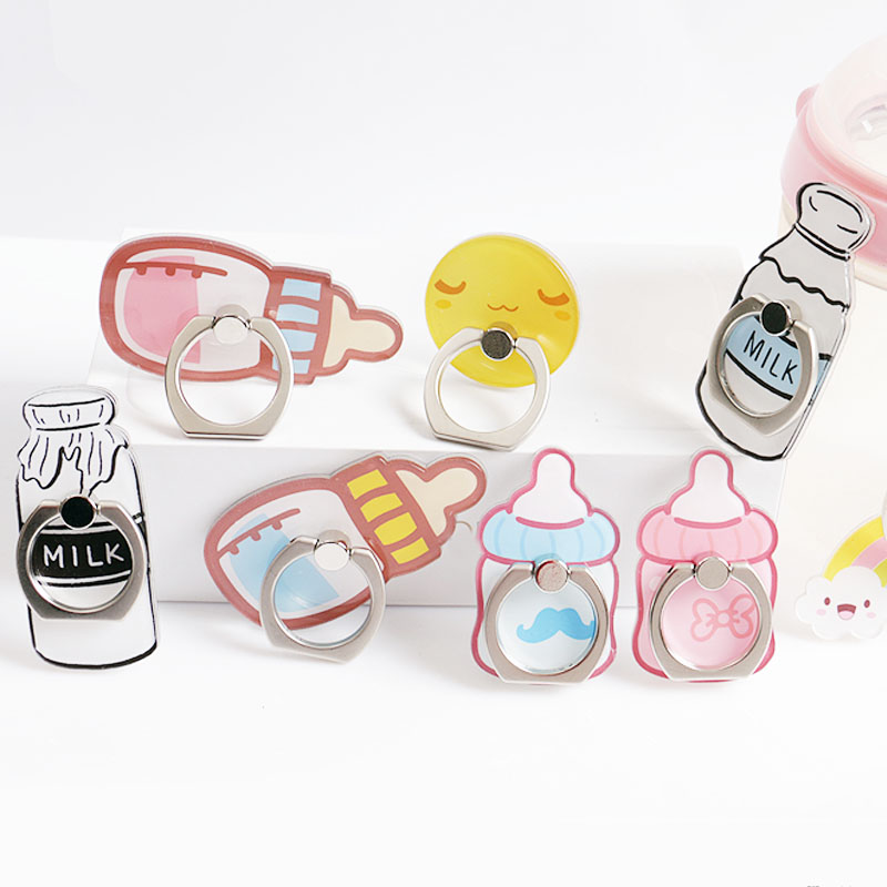 Milk Bottle Rotating Holders Pop <font><b>Stand</b></font> Cute Cartoon <font><b>Phone</b></font> Finger Ring Mobile Smartphone <font><b>Stand</b></font> Holder For iphone X