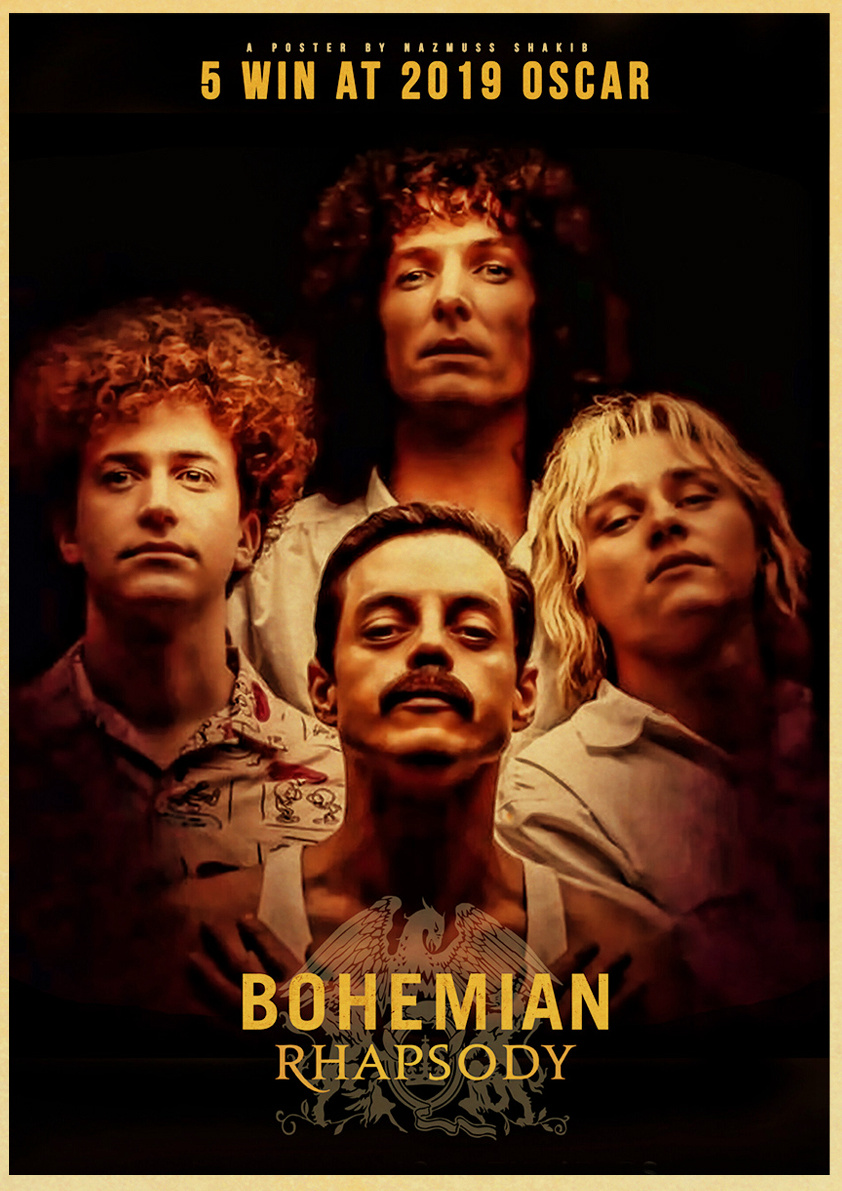 bohemian rhapsody movie poster freddie mercury rock band queen posters and prints modern home room wall decor on kraft paper