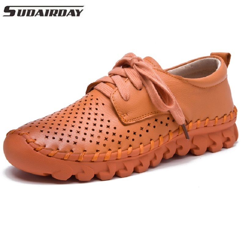 Women Summer Shoes Breathable Handmade Woman Hollow Out Flats Women's Genuine Leather Flat Shoes Single Shoes Loafers free shipping 2018 new summer high quality women shoes genuine leather flat casual comfortable single shoes loafers breathable