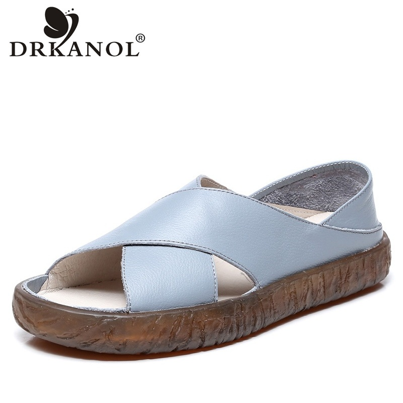 DRKANOL Women Sandals 2018 Genuine Leather Flat Gladiator Sandals For Women Summer Casual Shoes Peep Toe Slip On Vintage Sandals
