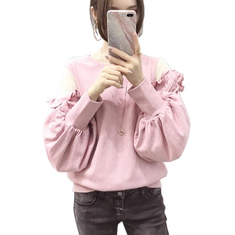 Korean Style Sweatshirt Women Spring Autumn Cute Hoodie Ladies Mesh Patchwork Frilled Lantern Sleeve Womens Hoodies Pullover